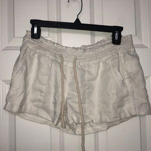 roxy white rope drawstring shorts